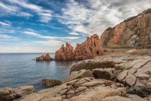 The landmark of Arbatax is a red prophyr rock with a big bay, Arbatax, Tortoli, Sardinia, Italy