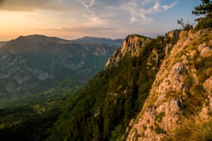 Evening sun over the mountain range over the canyon of the river Tara, Zabljak, Durmitor National Park, Montenegro.