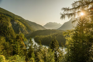 View on a cloudless summer morning over Blindsee to Zugspitze, Bavaria, Germany.