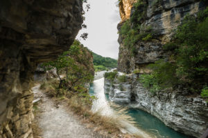 A hiking trail leads in high altitude through the Osum Gorge, Çorovoda, Berat, Albania.
