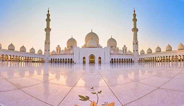 Abu Dhabi, UAE, Emirates, United Arab Emirates, Africa, Middle East, Grand Sheikh Zayed Mosque, Panoramic,