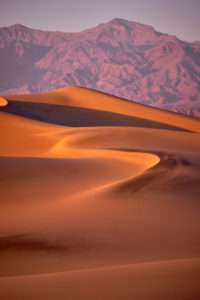 USA, United States of America, Nevada,  Death Valley National Park, Mesquite Sand Dunes, Sierra Nevada, California