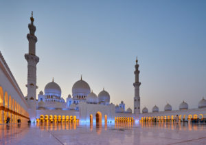 Abu Dhabi, UAE, Emirates, United Arab Emirates, Africa, Middle East, Grand Sheikh Zayed Mosque, Blue hour,