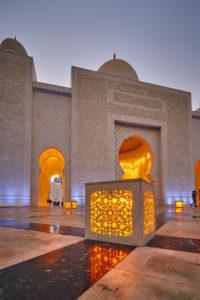 Abu Dhabi, UAE, Emirates, United Arab Emirates, Africa, Middle East, Grand Sheikh Zayed Mosque, Front low angle shot,