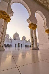 Abu Dhabi, UAE, Emirates, United Arab Emirates, Africa, Middle East, Grand Sheikh Zayed Mosque, low angle shot