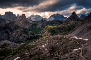 Tre Cime di Lavaredo, Sexten, Belluno, Rifugio Auronzo, South Tyrol, Dolomites, Italy, Hiking path,