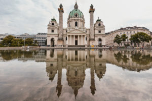 Vienna, Austria, Europe, Karlsplatz, Karlskirche Church with Water Reflection,