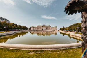 Vienna, Austria, Europe, Castle Belvedere, Garden with Fountain Pool and Flowers, Copyspace,