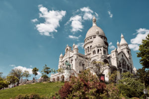 Europe, France, Paris, Montmartre, Sacre Coeur, Low angle view