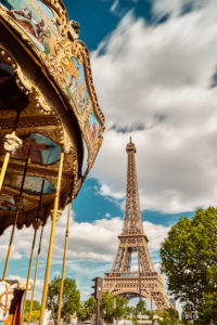 Europe, France, Paris, Eiffeltower, La tour Eiffel, champ de mars,7. Arrondissement, carousel