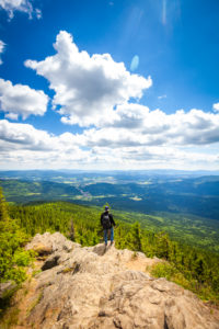 Europe, Germany, Bavaria, Bavarian Forest, National Park, Hiker standing at viewpoint