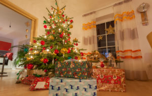 Germany, Bavaria, Christmas, Silent Night, 24. December, Christmas festival, Tree, Evening, Presents under christmas tree
