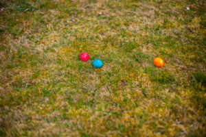 Germany, Bavaria, Easter, Garden, colorful Eggs on gras at garden,