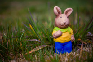 Germany, Bavaria, Easter, Garden, colorful rabbit on gras at garden,