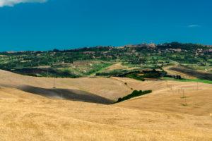 Europe, Italy, grain fields near Volterra, Tuscany, Province Pisa,