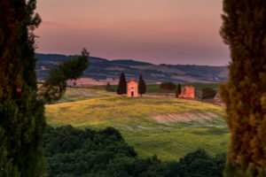 Europe, Italy, Val d'Orcia, Cappella Madonna di Vitaleta, Chapel, Tuscany, San Quirico d'Orcia, Province of Siena,