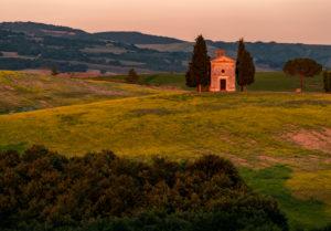 Europe, Italy, Val d'Orcia, Cappella Madonna di Vitaleta, Chapel, Tuscany, San Quirico d'Orcia, Province of Siena,