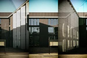 Abstrakte Collage der modernen Gebäude der Musikhochschule auf dem Gelände der Johannes Gutenberg Universität in Mainz,