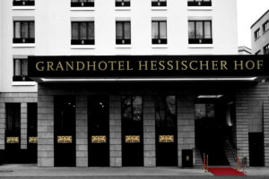 Grandhotel Hessischer Hof, five-star luxury hotel in Frankfurt, facade, entrance, gold ornaments