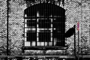 Stillgelegtes Industriegelände, ein Halteverbotszeichen wirft Schatten auf die Backsteinwand einer alten Fabrik mit vergittertem Fenster,