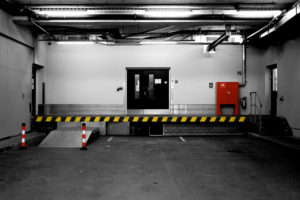 Loading ramp of a commercial building with fire safety equipment