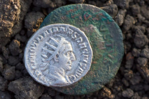 Ancient Roman silver coin showing the portrait of the emperor