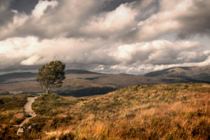 Dramatic sky over characteristic Scottish highland landscape