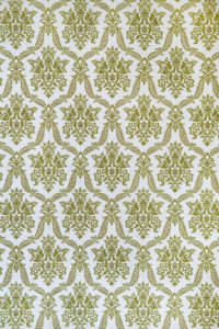 old wallpaper with baroque and antique pattern in green white as background