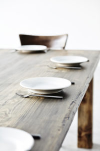 laid table, plate, cutlery and glasses, detail,