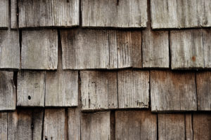 old shingles, grey and weathered on a wooden house in the Black Forest, detail