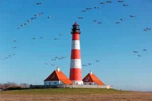 Westerhever lighthouse, North Frisia, Schleswig-Holstein, Germany