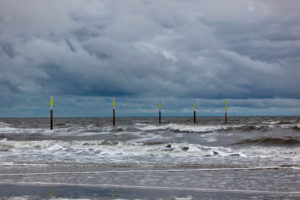 Sankt Peter-Ording, wind and high tide at the North Sea, Germany, Schleswig-Holstein