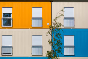 Refugee accommodation, colored living containers