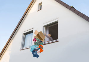 Woman throws her partner's clothes out of the window after the breakup