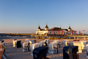 Usedom Island, Ahlbeck, pier, beach, beach chairs, Mecklenburg-Western Pomerania, Germany