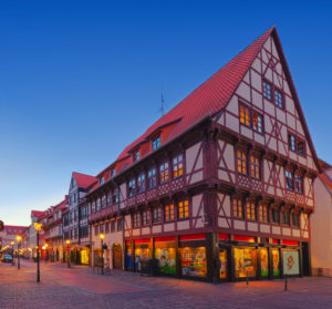 Göttingen old town in the blue hour, Lower Saxony, Germany