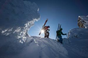 Abstieg bei Skitour im Dammkar, bei Mittenwald, Karwendel, Bayern, Deutschland