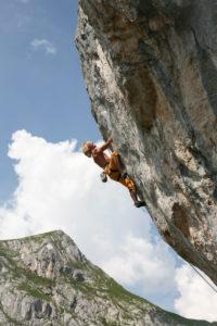 Climber in Climbers Paradise, Rofan, Achensee, Tyrol, Austria