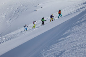 Group on a ski tour in Kühtai, Stubai Alps, Tyrol, Austria