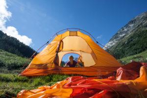 Zelten im Fundustal, Ötztal, Tirol, Österreich