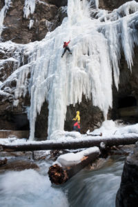 Ice climbing in the Partnachklamm, Garmisch, Wettersteingebirge, Bavaria, Germany