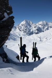 Zwei Freerider bei Skitour zur Königsspitze, Sulden, Südtirol,  Italien
