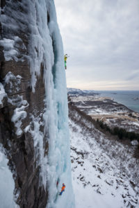 Two climbers doing ice climbing in Bodo, Nordland, Norway