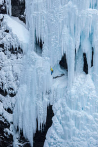 Ice climbing in the Lyngen Alps, Lyngen Peninsula in Fylke Troms, Norway