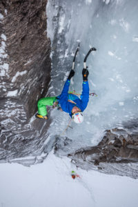 Climber doing ice climbing in Bodo, Nordland, Norway