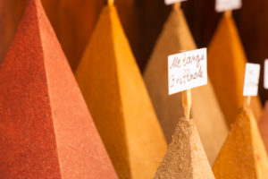 beaded spices, in tower shape, Medina market, Morocco, Essaouira, coloured