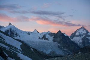 Snowy mountain landscape, mountain range, Bishorn, summit, trekking, Switzerland, Tracuit, Zinal, series Tracuit, sport, rock, snow, hut, glacier, sunrise,