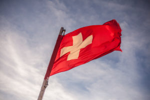 Swiss flag, cloudy heaven, Switzerland, Sunny,