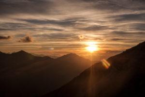 Sunset on front of mountain landscape, mountain range, summit, trekking, Switzerland, Tracuit, series Tracuit, sport, rock, snow, hut,