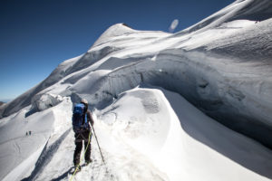 Person in front of crevasse, drift, ice, form, glacier, Switzerland, Saas Fee, summit,